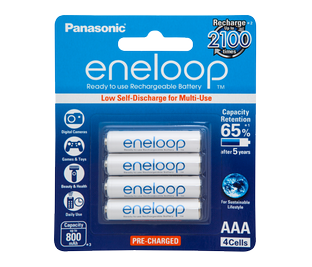 Panasonic eneloop AAA Rechargable Battery (4 Pack) - lasts up to 4x longer than alkaline batteries in digital cameras. Available at The Listening Post Christchurch and Wellington.