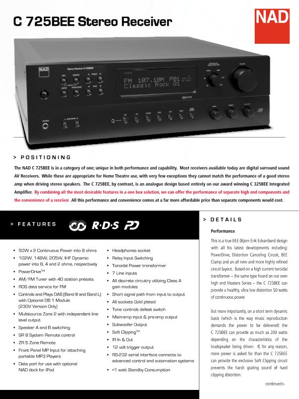 NAD C725BEE Stereo Receiver - Page 1