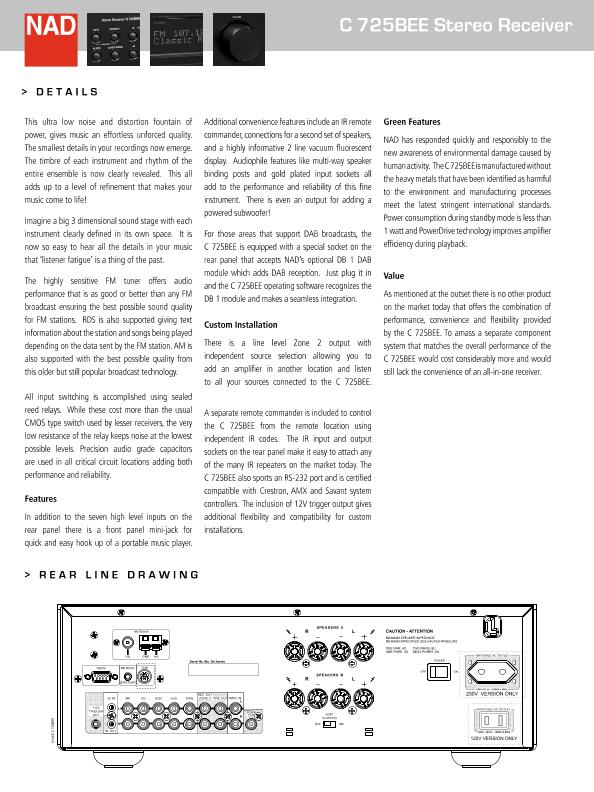 NAD C725BEE Stereo Receiver - Page 2