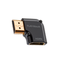 Audioquest HDMI right angle adapter helps when you have no space behind a tv. The 90° Nu/R adaptor lets the female socket face left. This Male female HDMI adapter is available online or at the Listening Post, christchurch and wellington.