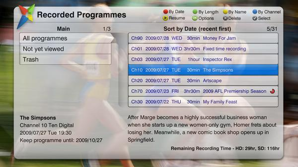 The Magic TV Recorded Programs view