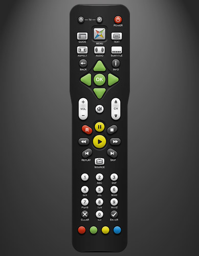 The remote control provided with Magic TV