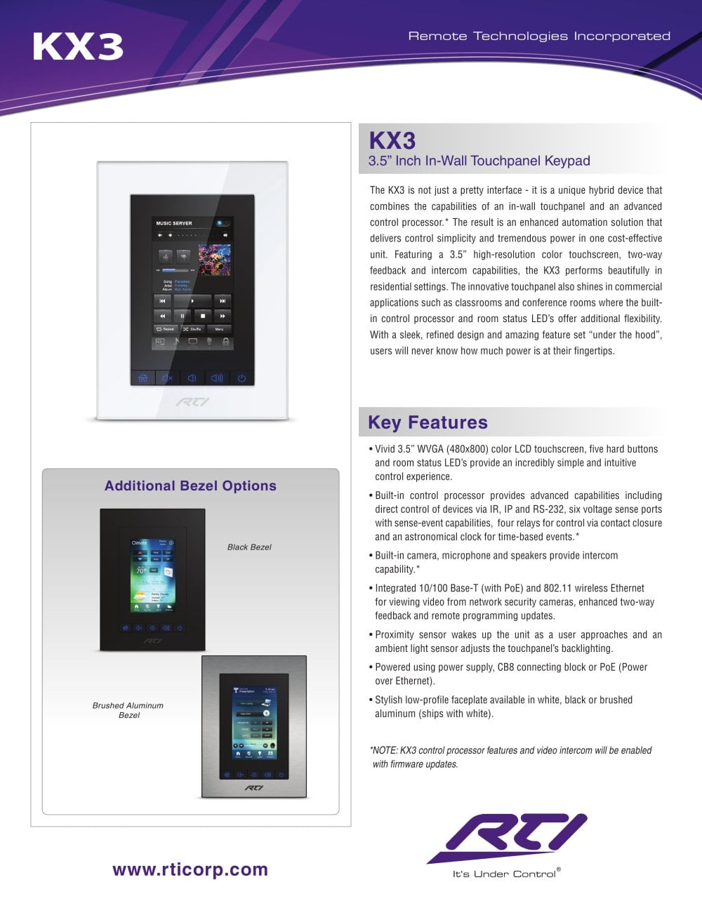 Rti Kx3 In Wall Touch Panel Keypad The Listening Post