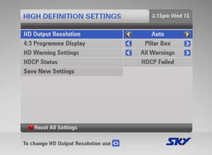 MySky HDCP Warning Settings